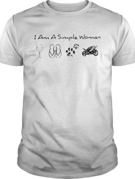 I Am A Simple Woman Wine Flop Paw Dog And Motorcycle shirt