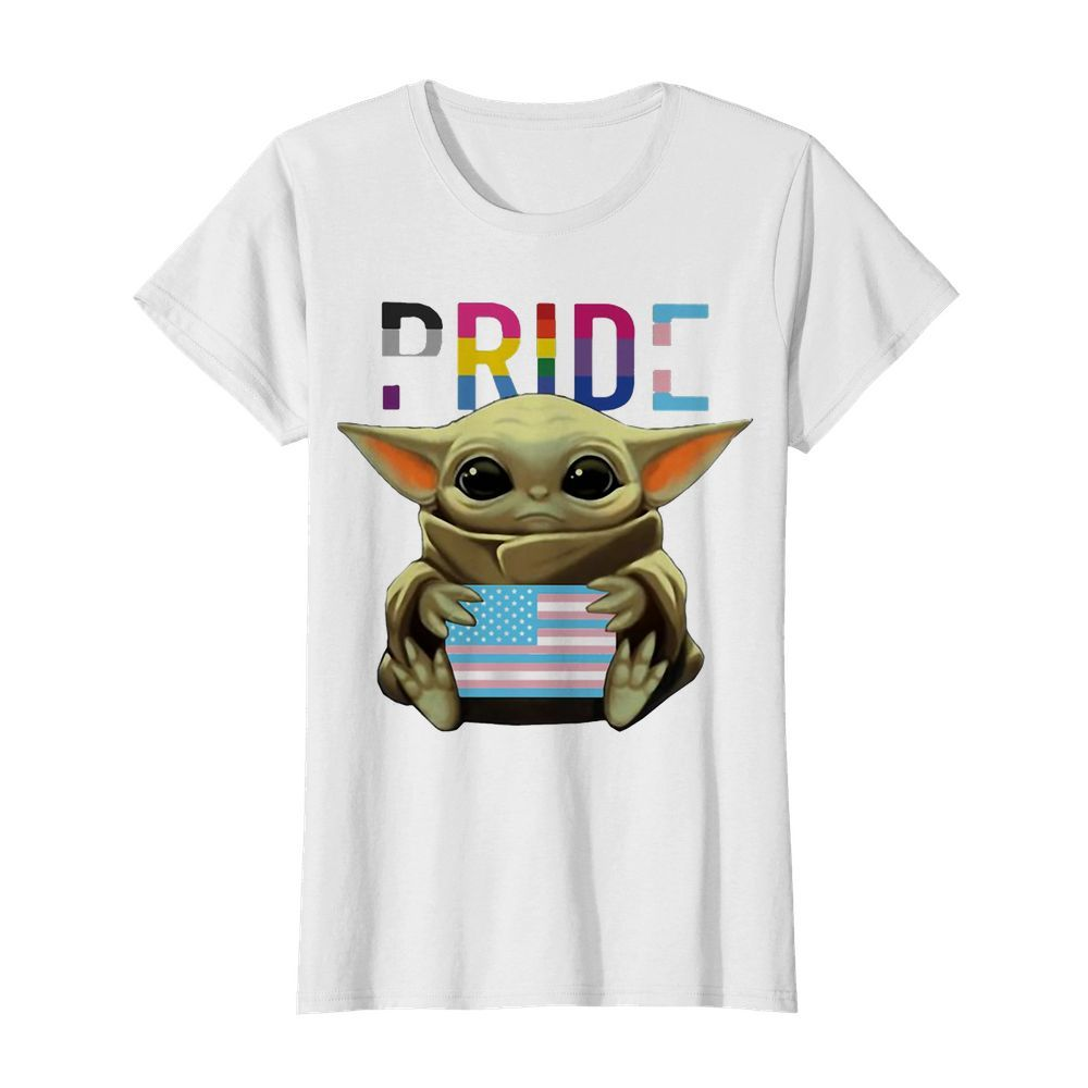 Lgbt pride baby yoda hug american flag independence day  Classic Women's T-shirt