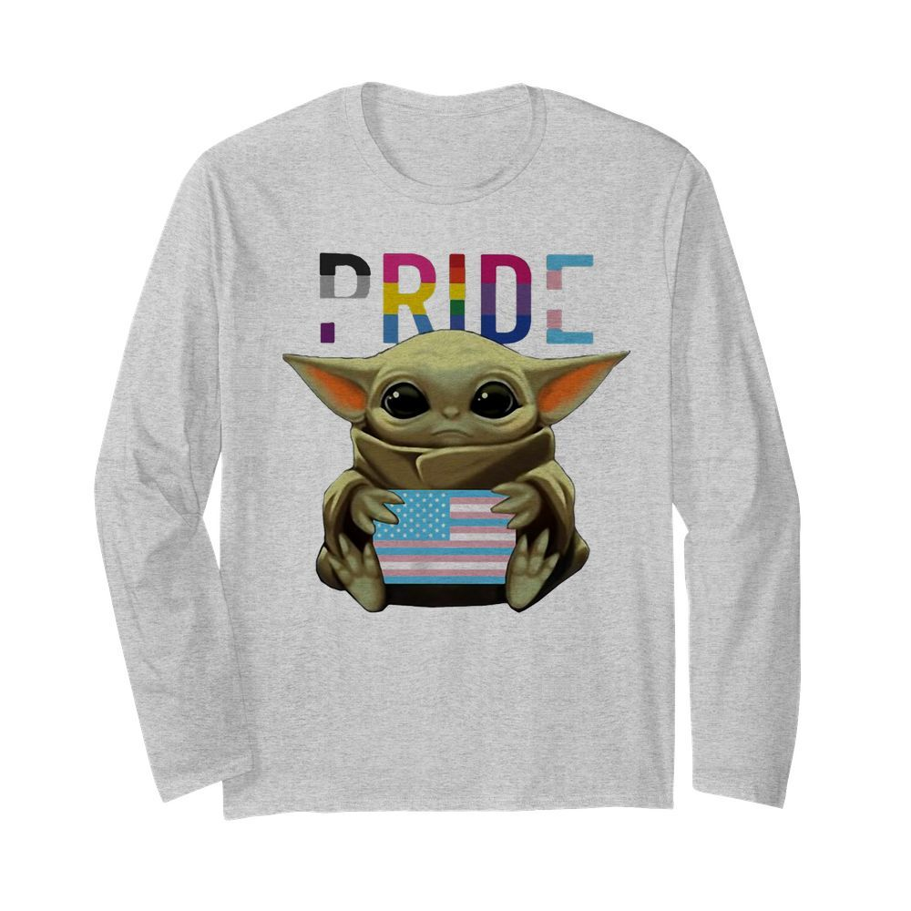 Lgbt pride baby yoda hug american flag independence day  Long Sleeved T-shirt