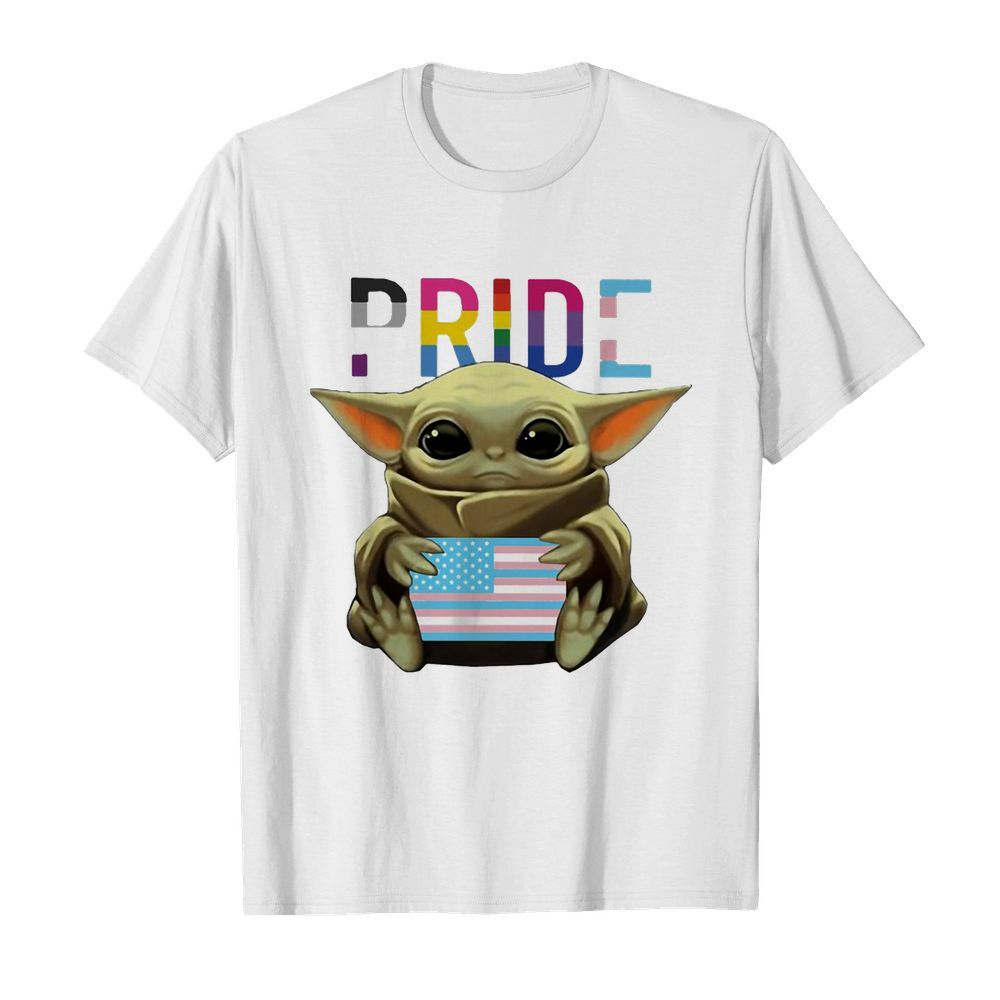 Lgbt pride baby yoda hug american flag independence day  Classic Men's T-shirt