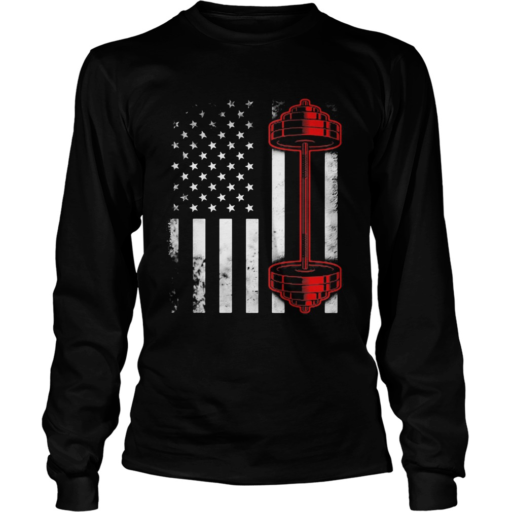 Weightlifting american flag america 4th of july independence day  Long Sleeve