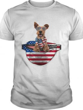 Welsh terrier waist pack american flag independence day shirt