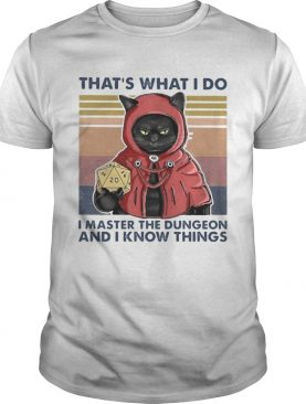 Black Cat Thats what I do I master the dungeon and I know things vintage retro shirt