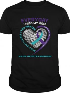 Everyday i miss mom you matter fight live love help is available cancer awareness hearts shirt