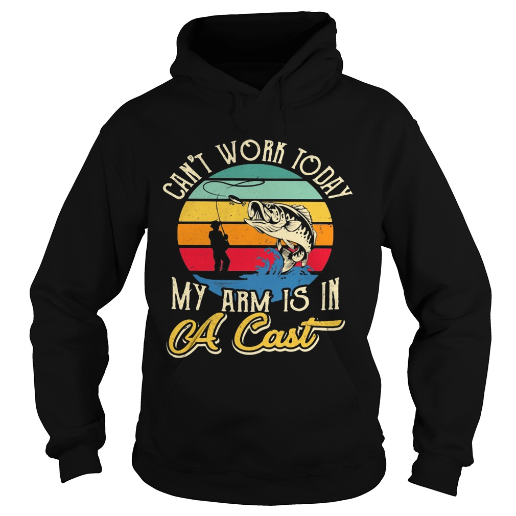 Fishing Cant work today my arm is in A cast Vintage retro  Hoodie