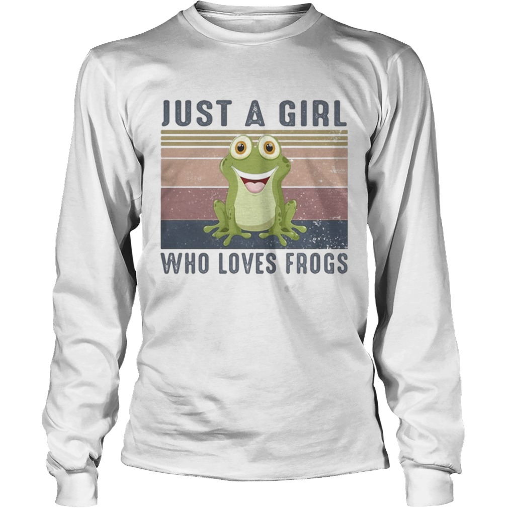 Just a girl who loves frogs vintage retro  Long Sleeve