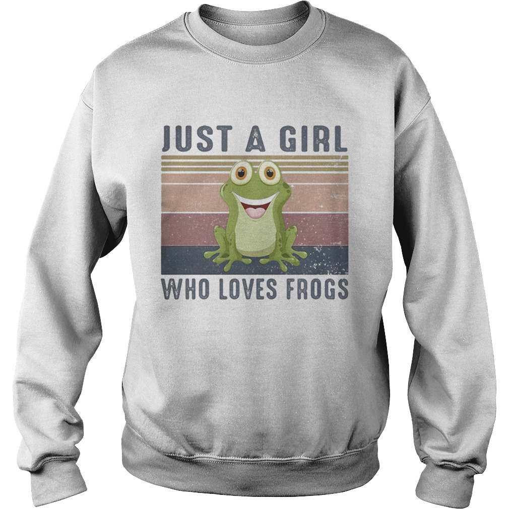 Just a girl who loves frogs vintage retro  Sweatshirt