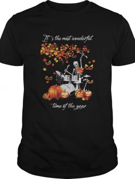 Skeleton drummer its the most wonderful time of the year pumpkin shirt