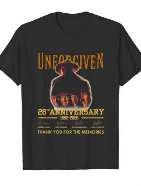 Unforgiven 28th anniversary 1992 2020 thank you for the memories signatures shirt