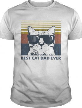 Best Cat Dad Ever with Sunglasses vintage retro shirt