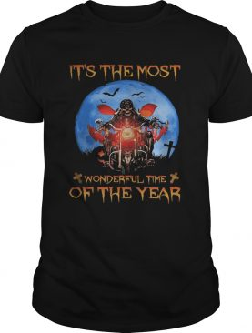 Halloween skeleton riding motorcycle its the most wonderful time of the year shirt
