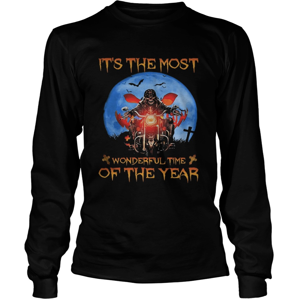 Halloween skeleton riding motorcycle its the most wonderful time of the year  Long Sleeve