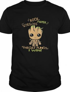 Baby Groot Rock Paper Scissors Throat Punch I Win shirt