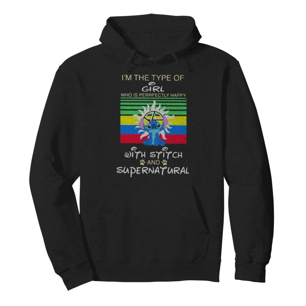 I'm a type of girl who is perfectly happy with stitch and supernatural vintage retro  Unisex Hoodie