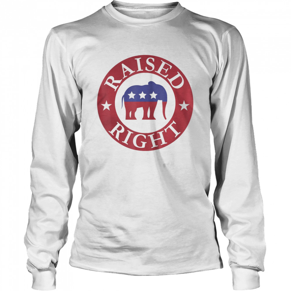 Raised Right Vote Donald Trump Republican Elephant  Long Sleeved T-shirt