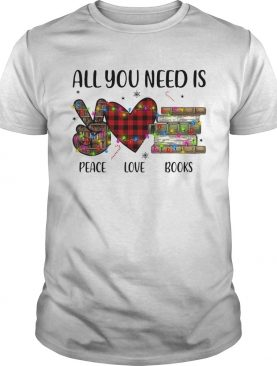 All You Need Is A Peace Love Books Merry Christmas Light shirt
