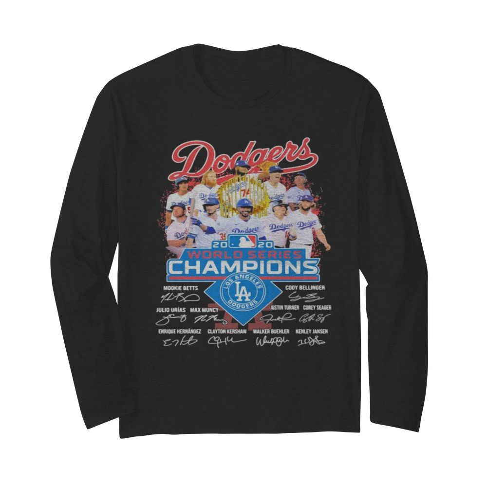 Dodgers 2020 world series champions los angeles dodgers signatures  Long Sleeved T-shirt