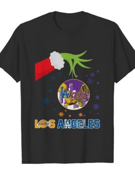 Grinch Hand Holding Lakers Los Angeles Christmas shirt