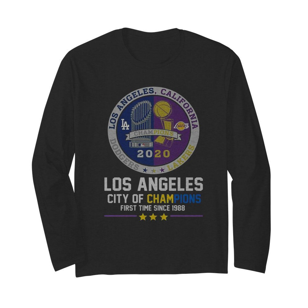 Los Angeles Dodgers And Los Angeles Lakers California City Of Champions First Time Since 1988  Long Sleeved T-shirt