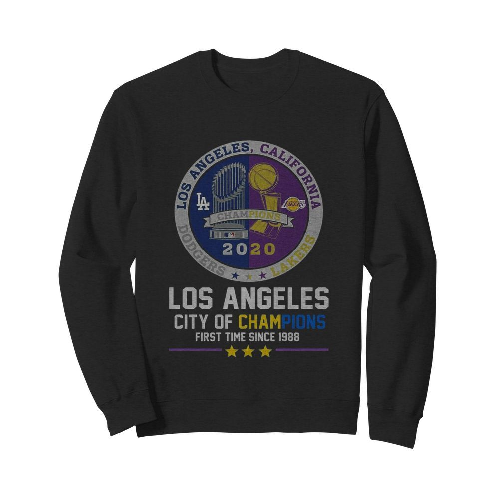 Los Angeles Dodgers And Los Angeles Lakers California City Of Champions First Time Since 1988  Unisex Sweatshirt