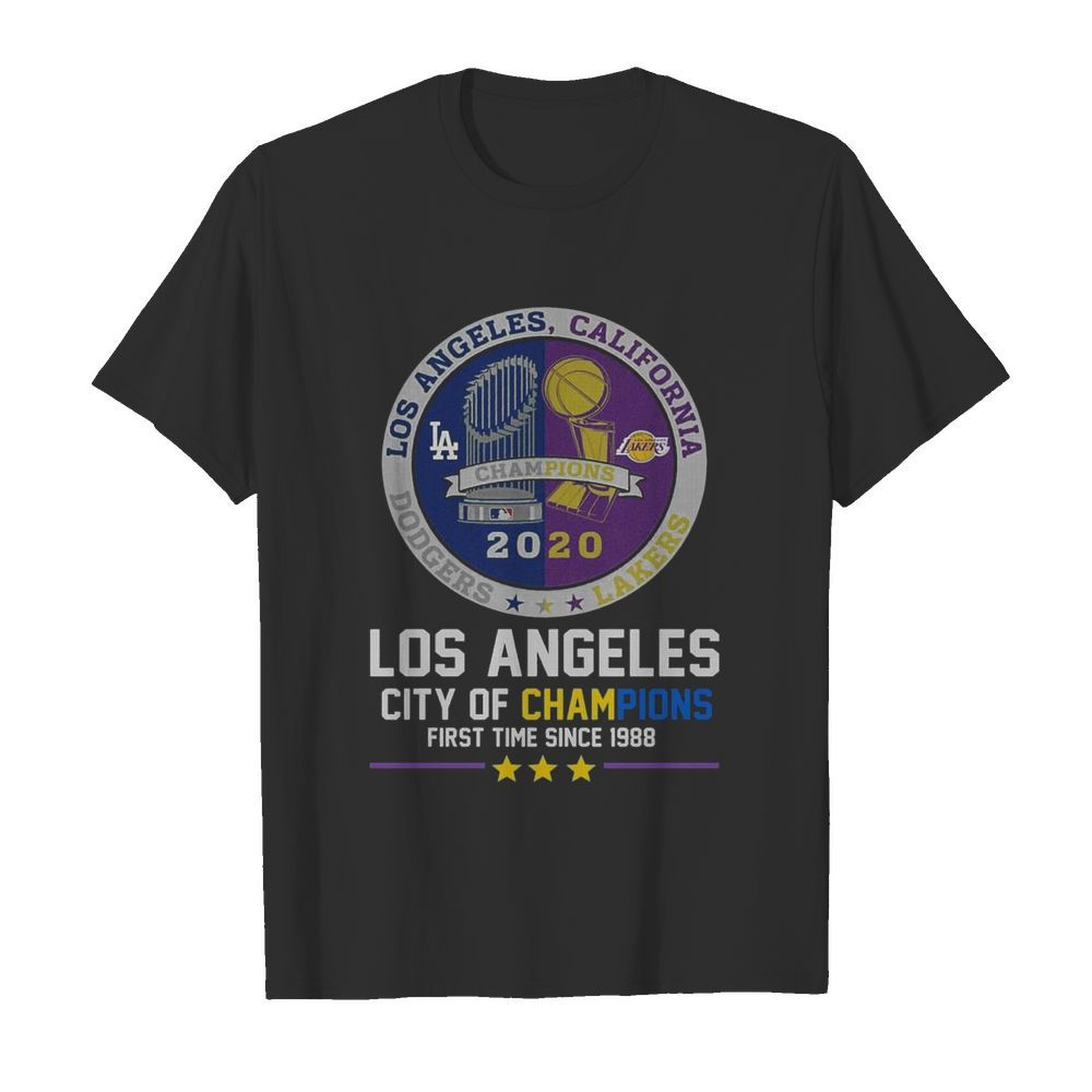 Los Angeles Dodgers And Los Angeles Lakers California City Of Champions First Time Since 1988  Classic Men's T-shirt