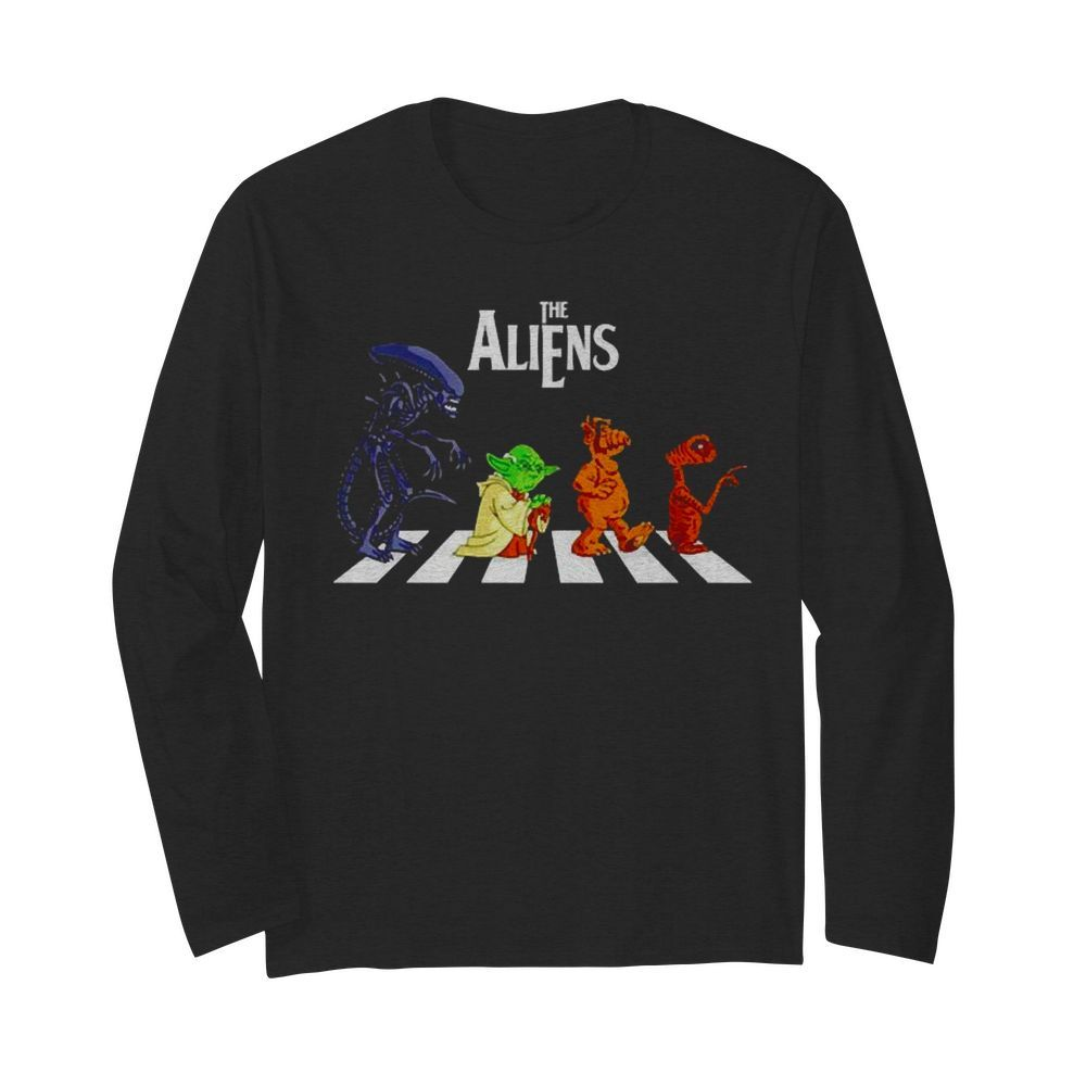 Abbey Road The Aliens Baby Yoda  Long Sleeved T-shirt