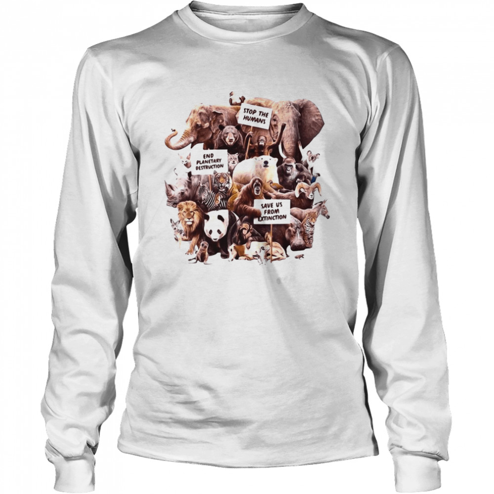 Dirty Velvet Animal Activists Graphic  Long Sleeved T-shirt