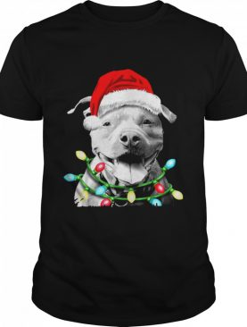 Pitbull Santa Christmas Light shirt